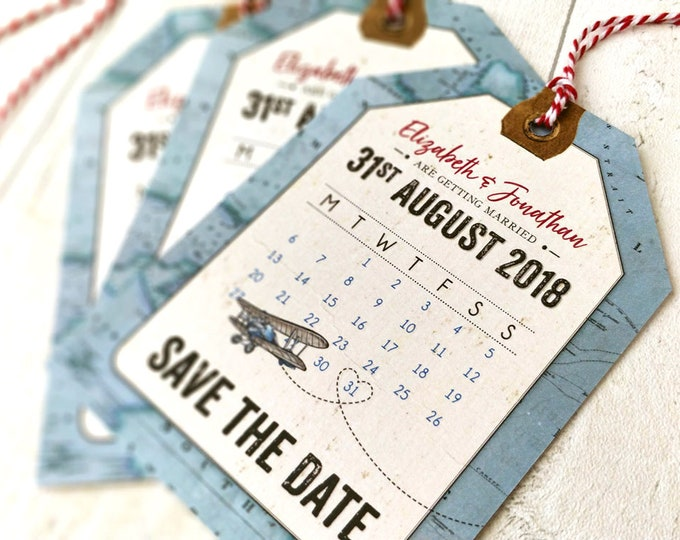 Save The Date | Luggage Tag Cards & Envelopes | Vintage Travel | Suitable for destination weddings