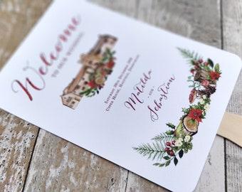 Wedding Program, Wedding fan, Watercolour, Woodland wedding fan, Wedding order of service, Christmas Program, Order of the day, Winter Fan