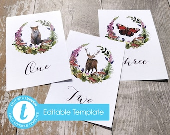 Printable Digital File | Templett Design | Table Names or Numbers | Woodland Forest Animals