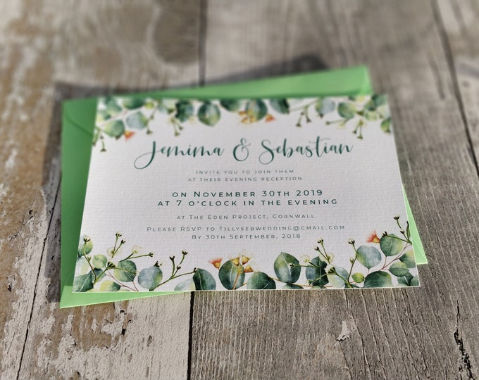 Flat Evening Invitation | Green Eucalyptus | Double Sided Cards & Envelopes | Fully Personalised