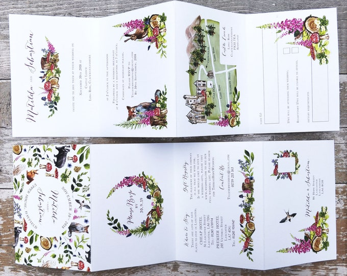 Folded Wedding Invitation | Woodland Animal Concertina with wedding map and cut-off RSVP cards and envelopes.