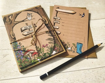 Blank Invitations   Woodland Forest Theme   Cards and Envelopes with spaces for you to complete