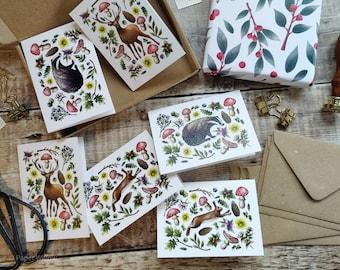 Mini Cottagecore Folded Cards, Handmade Blank Cards & Envelopes, A7 74mm x 105mm, 6 or 12 cards, Cottagecore, Ditsy Floral cards