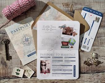 Travel Passport Wedding Invitation Set, Rustic Folded booklet card, RSVP card and lined envelope bundle