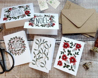 Mini Christmas Folded Cards, Handmade GiftCards & Envelopes, A7, 74mm x 105mm,5 designs, Greenery, Winter cards