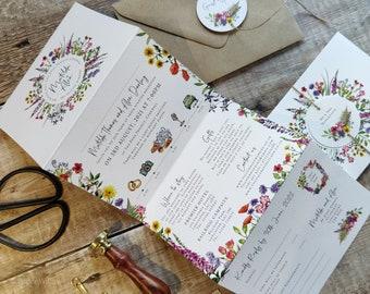 Wildflower Wedding Invitation, Plain Envelopes, Rustic Ditsy Folding Concertina Invite, Wedding Timeline