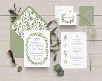 Eucalyptus Oval Wedding Invitation, Rustic A5 Oval Invite and Plain Envelope