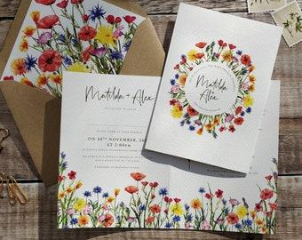 Wildflower Wedding Invitation, Folded Invitation, Cards & Envelopes