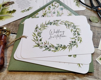 Eucalyptus Greenery Wedding Invitation, Rustic Hand-tied 3 card Invite, Plain envelopes, Optional Map, Wedding Timeline