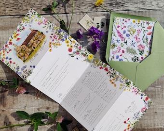 Wildflower Wedding Invitation, Rustic Folding Concertina Invite, Optional Venue Painting, Optional Envelope Liners, Watercolor Flowers