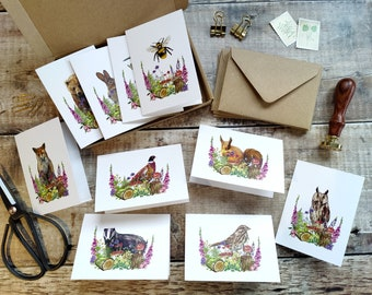 Mini Woodland Animal Folded Cards, Handmade Blank Cards & Envelopes, A7 74mm x 105mm, 10 Forest Animals, Cottagecore, Ditsy Floral cards