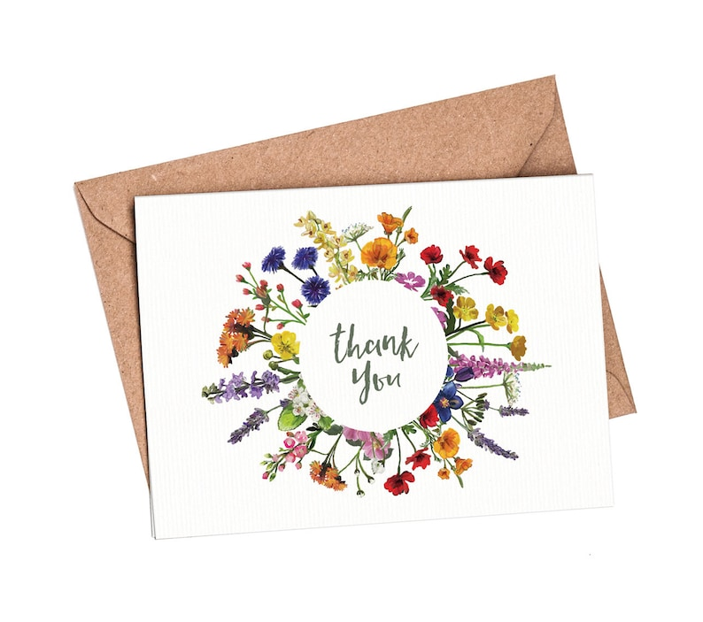 Hand Painted Wedding Thank You Card Folded Printable Digital File Templett Design Wildflowers