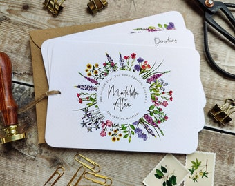 Wildflower Wedding Invitation, Rustic Hand-tied 3 card Invite, Plain envelopes, Optional Map, Wedding Timeline
