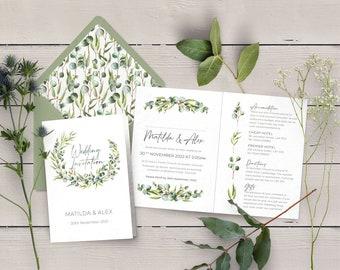 Eucalyptus Wedding Invitation, Rustic Folded Invitation, Cards & Envelopes, Wedding Timeline