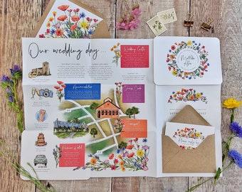 Wildflower Wedding Invitation, Folded Wedding Poster, Wildflower Watercolor Paper Folded Design, Optional Wedding Map