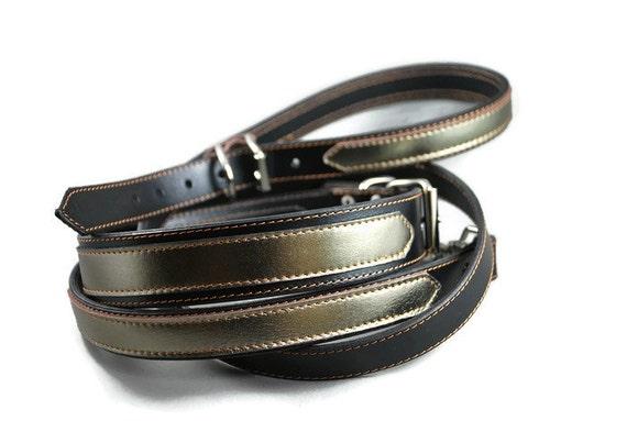 Laisse en cuir doublé pour chien avec décoration cuir or, anse réglable