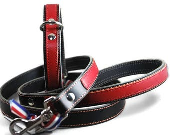 Leather dog leash and collar set, 2 cm wide, black leather with decorative red stripe