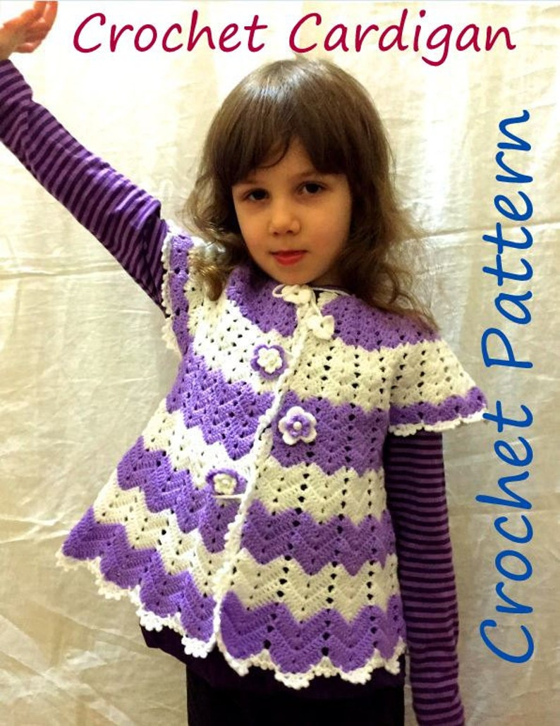 6f486626ab24 Crochet PATTERN Cardigan Baby Girl Spring Chevron Outfit For