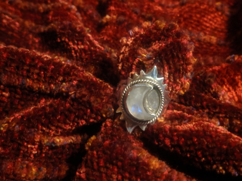 Sun & Moon Ring Sterling and Moonstone image 0