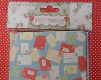 "Winter Wonderland 5"" x 7"" Cards & Envelopes  12 Pack (3 different designs)"