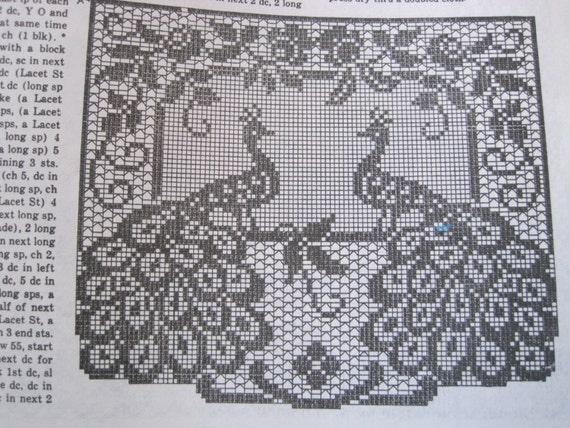 Crochet Pattern Filet Crochet Peacock Chair Set Etsy