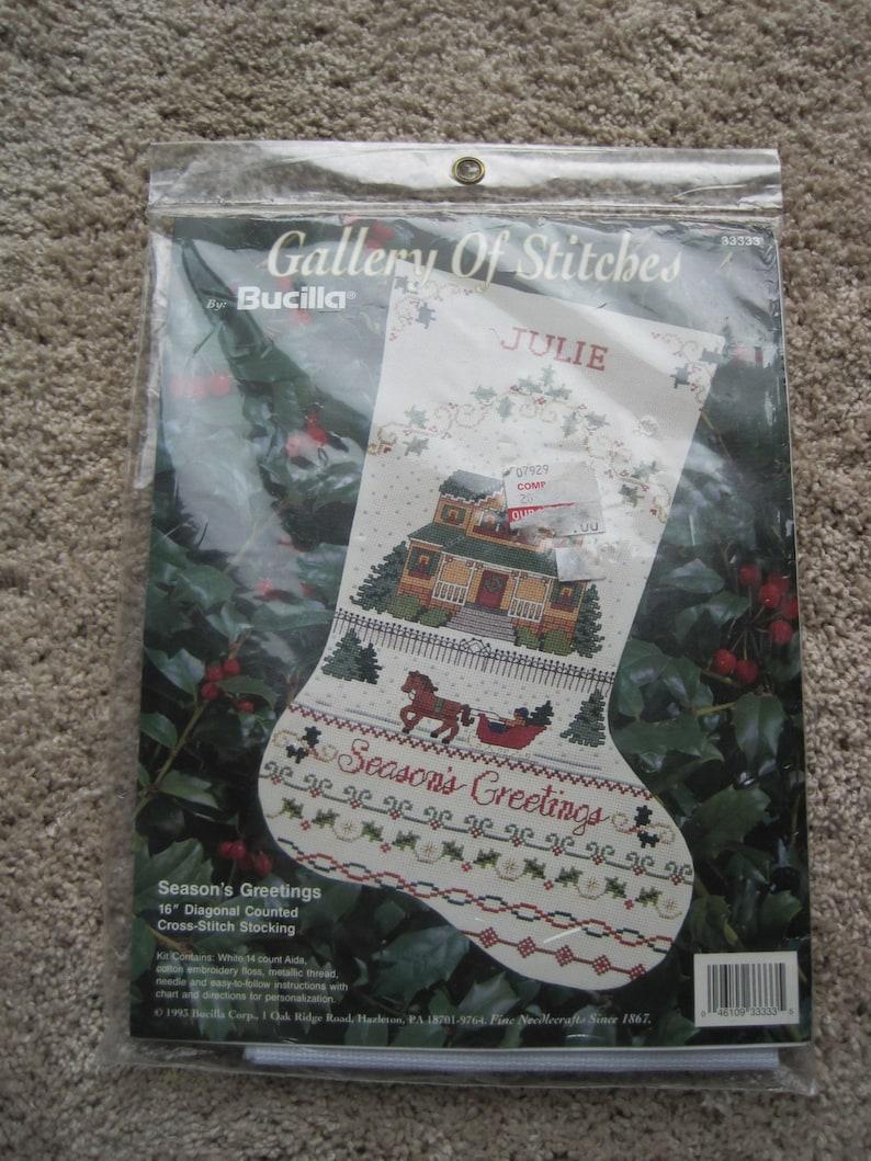 NEW NIP Cross Stitch Kit 16 by Bucilla Christmas Stocking Seasons Greetings Vintage 1993