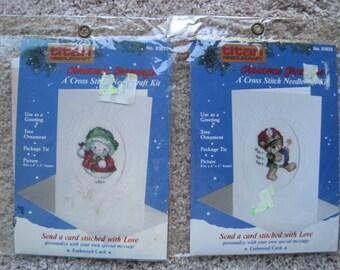 Lot of Two Cross Stitch Kits - Christmas Greetings Cards - Joy and Rat-Tat-Tat - Vintage 1988 - NIP NEW