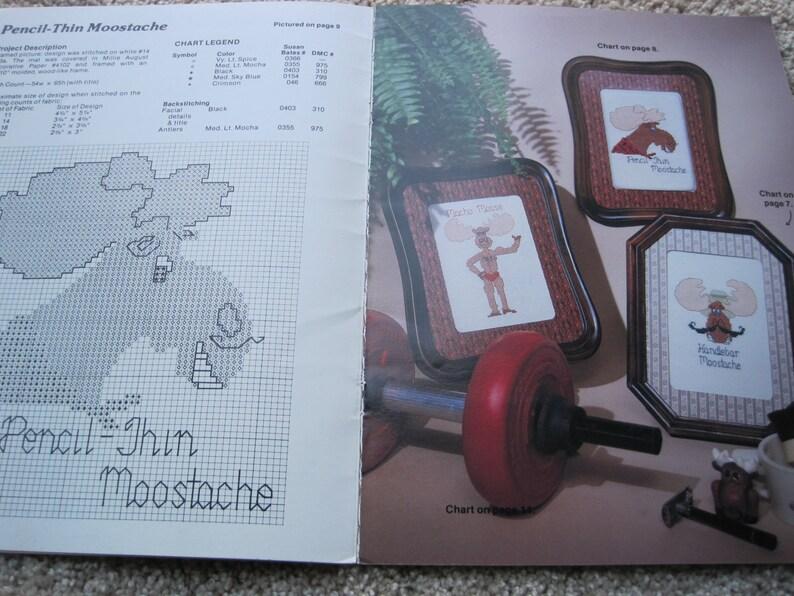Vintage 1982 Greta Goodstitch #7597 Cross Stitch Pattern Book Moose Messages