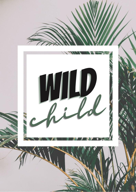 kids play room decor nursery art Wild Child A5 Print Wall Art  two styles palm or giraffe