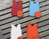 Fast Shipping - Personalized Wooden Basketball Sports Jersey Christmas Ornament - Your Name - Hand Painted Wood
