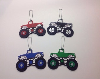 Personalized Wooden Monster Truck Winter Tree Ornament - Your Name - Christmas Holiday - Hand Painted Wood - Various Colors Available