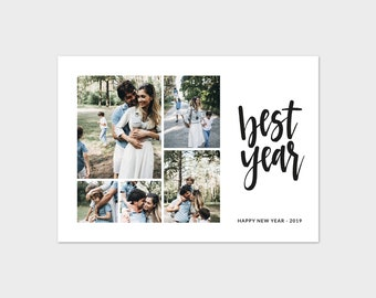 new year minimalist photo card template best year