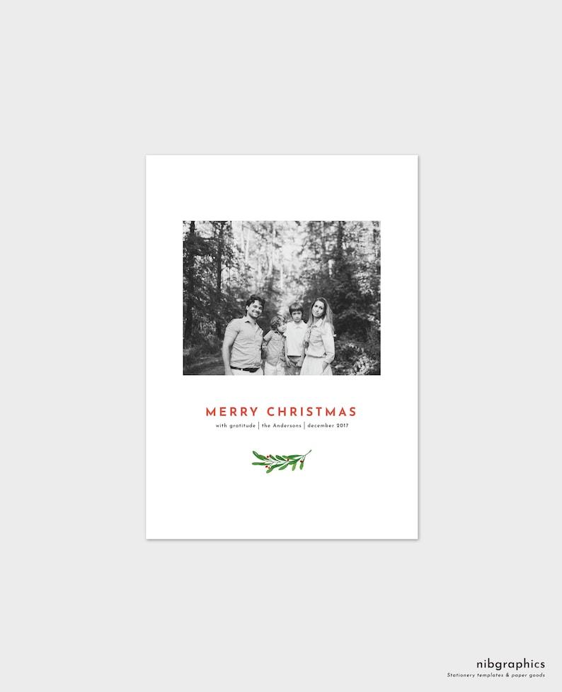 Christmas Card Template  Classic Watercolor Laurel image 0