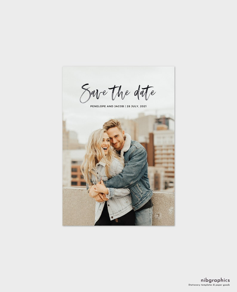 Save the Date Photo Card Template  Modern Minimalist image 0