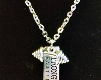 Strong is Beautiful,  Fitness Necklace,  Weightlifting Necklace, Barbell Necklace, Stainless Steel.