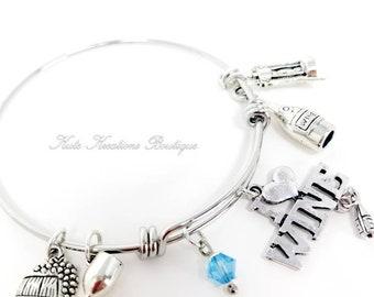 I Love Wine bracelet, Adjustable Bangle, Stainless steel  Expandable Bracelet.