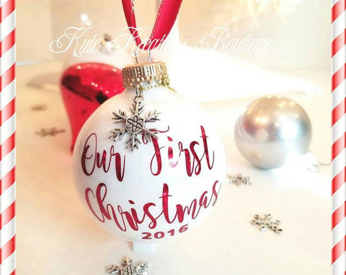Featured listing image: Our First Christmas Ornaments/Baby 1st Christmas/Merry Christmas