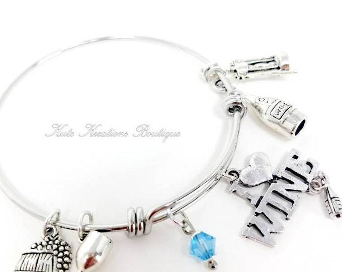Featured listing image: I Love Wine bracelet, Adjustable Bangle, Stainless steel  Expandable Bracelet.