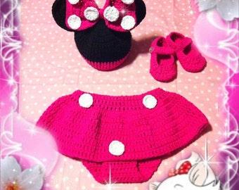 Minnie Mouse Crochet Outfit/Minnie Mouse Crochet Set/Minnie Mouse