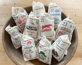 Christmas Vacation Inspired Advent Calendar Christmas Bags - Countdown to Christmas - 24 Bags 4x6 5x7