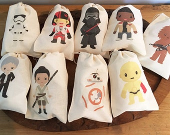 Star Kids Inspired Gift Party Favor Bags. Set of 9 - 5x7 6x8 7x9 7x11 Drawstring Birthday Gift Basket Bags Personalized NEW! & Star wars favor bag | Etsy