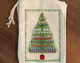 12 days of christmas christmas tree holiday bags gift set of 6 cotton drawstring bags stocking stuffers 4x6 5x7 6x8 7x9 7x11