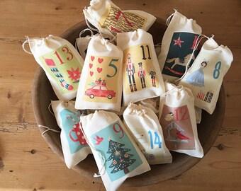 Festive Advent Calendar Christmas Bags - Colorful Holiday Bag Set - Countdown to Christmas - 25 Vintage 4x6 5x7