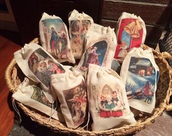 Religious Advent Calendar Christmas Holiday Bags. Set of 25 Christian Vintage 3x5 4x6