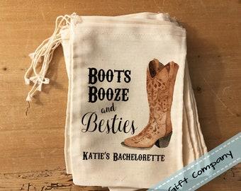 1 Boots Booze and Besties Hangover Bag - Custom Bachelorette Favor Bag. Country Bachelorette, Nashville Bachelorette Party, Country Wedding