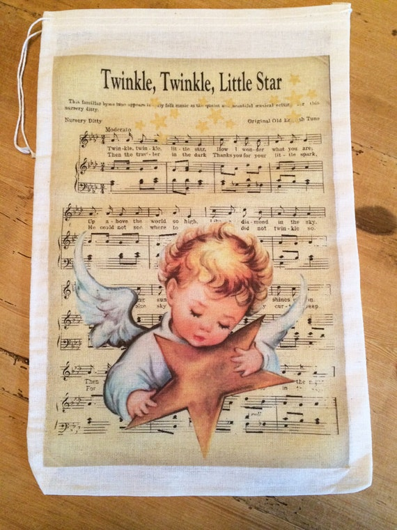 Favor Party bags 6x8 or 7x11 Vintage Music 1 Hey Diddle Diddle Bag Nursery Rhymes Book Bag