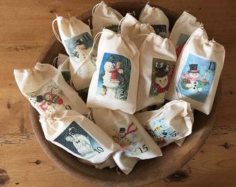 Snowman Advent Calendar Bags Christmas Holiday Bag Set. Countdown to Christmas - 25 Vintage 3x5 4x6