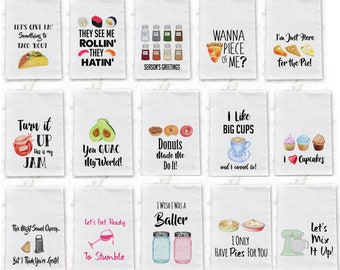 Funny Tea Towels  Foodie Gift  Unique Kitchen Towels  Gift for Wedding Shower Fun Hostess Gift  Funny Kitchen Decor  Christmas Cook Gift pun