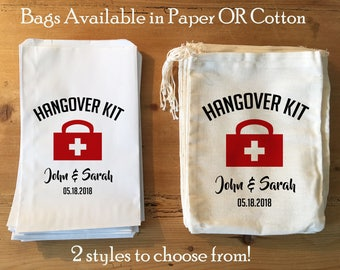 10 Hangover Kit Bags Party Favors Survival Kit DIY Bride Bachelorette Party Recovery Kit Hangover Bags Personalized Paper or Cotton