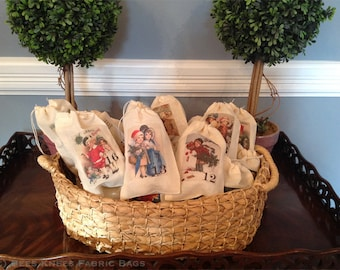 Victorian Advent Calendar Christmas Holiday Bags. Set of 25 Victorian Vintage 3x5 4x6